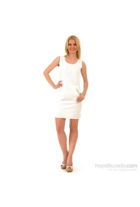 Sense Kadın Keten Elbise Beyaz