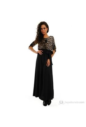 Sense Kadın Kuşaklı Elbise Siyah Safran Leopar