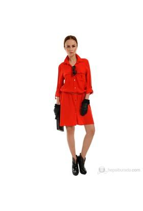 Sense Kadın Gömlek Elbise Kırmızı