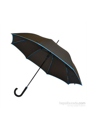 Bıggbrella Mavi Şeritli Siyah Uzun Şemsiye