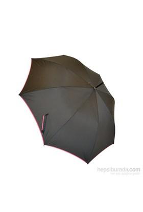 Bıggbrella Pembe Şeritli Siyah Uzun Şemsiye