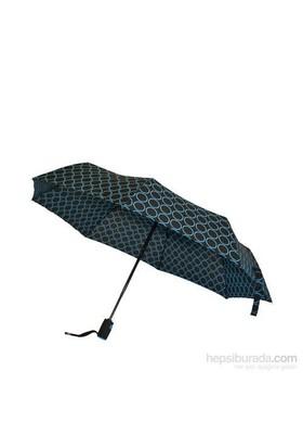 Bıggbrella Mavi Puanlı Siyah Mini Şemsiye