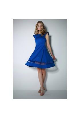 Ervans Eteği Tül Kloş Elbise Mavi