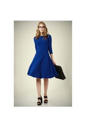 Ervans Eteği Kloş Elbise Mavi