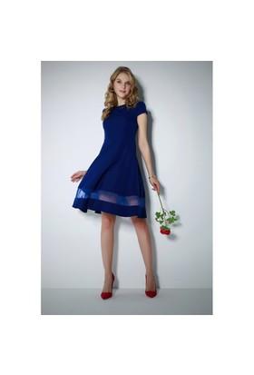 Ervans Eteği Tül Elbise Mavi