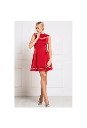 İroni Tül Pencereli Dalgıç Kırmızı Elbise