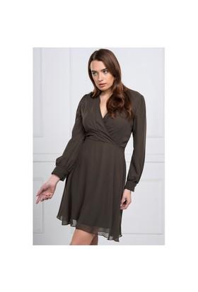İroni Kruvaze Yaka Şifon Mini Haki Elbise