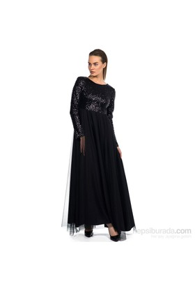 İroni Üstü Payet Tül Uzun Siyah Elbise