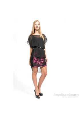 İroni Payet Eteklı Fuşya Şifon Elbise