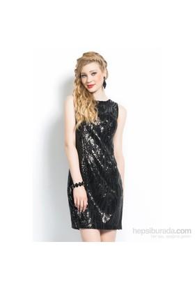 İroni Kolsuz Siyah Payet Elbise