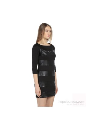 Karahasans Siyah Deri Detaylı Elbise