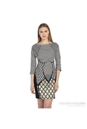Karahasans Siyah Taşlı Geometrik Elbise