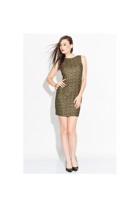 İroni Kolsuz Gold Kısa Elbise