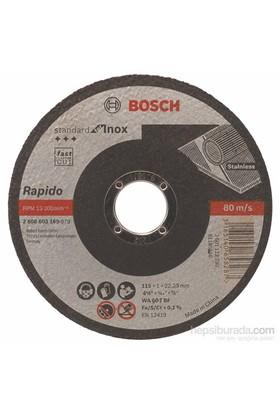 Bosch - Standard Seri Inox (Paslanmaz Çelik) İçin Düz Kesme Diski (Taş) – Rapido - Wa 60 T Bf, 115 Mm, 22,23 Mm, 1,0 Mm
