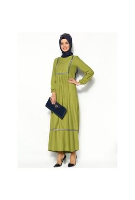 Nakışlı Piliseli Elbise - Oliv Yeşili - Cml Collection