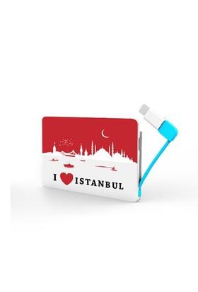 Codegen 2300 mAh I Love İstanbul Baskılı iPhone 5/6 Aparatlı Taşınabilir Şarj Cihazı - IF-22I
