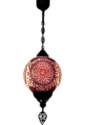 Otantik Osmanlı Dekoratif 25 Lik Top Çatlak Cam Tek Zincir Askılı Lamba