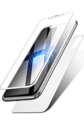 Case 4U Apple iPhone X Tam Kapatan Kavisli Ekran Koruyucu Ön ve Arka Beyaz