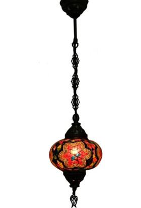 Otantik Osmanlı Dekoratif Mozaik Tek Zincir Askılı Lamba No-3