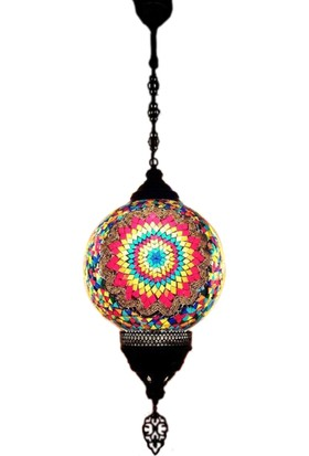Otantik Osmanlı Dekoratif 30 Luk Top Çatlak Cam Tek Zincir Askılı Lamba