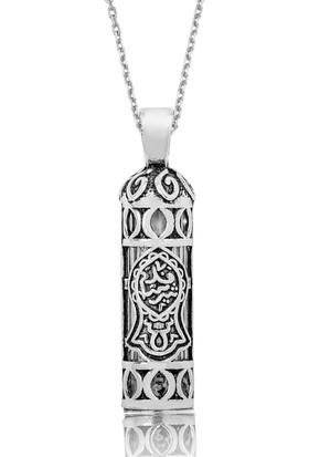 Ervanur Gümüş Nal-İ Şerif Desenli Cevşen Kolye