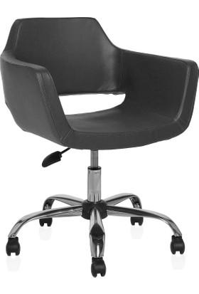Sido Modern Siyah Deri Ofis Çalışma Koltuğu - Metal Ayaklı - Bilgisayar Koltuğu