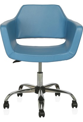 Sido Modern Mavi Deri Ofis Çalışma Koltuğu - Metal Ayaklı - Bilgisayar Koltuğu
