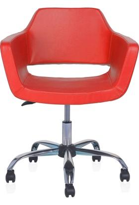 Sido Modern Kırmızı Deri Ofis Çalışma Koltuğu - Metal Ayaklı - Bilgisayar Koltuğu