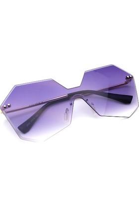 Cute Cat Purple Faset Bizote Kadın Güneş Gözlüğü