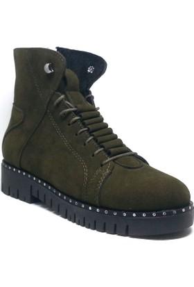 Shop And Shoes Kadın Bot Haki Süet 155-013102