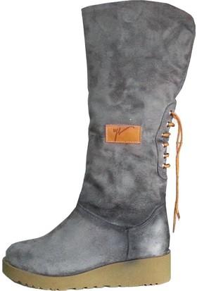 Shop And Shoes Kadın Bot Gri Süet 190-1750