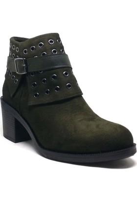 Shop And Shoes Kadın Bot Yeşil Süet 190-407