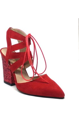 Shop And Shoes Kadın Ayakkabı Kırmızı Süet 164-999