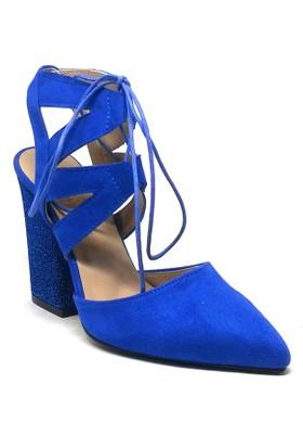 Shop And Shoes Kadın Ayakkabı Saks Mavi Süet 164-999