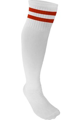 Spor724 Lüks Futbol Tozluğu Çorabı Beyaz Kırmızı Büyük Boy