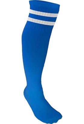 Spor724 Lüks Futbol Tozluğu Çorabı Mavi Beyaz Büyük Boy