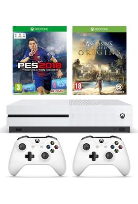Microsoft Xbox One S 500GB Oyun Konsolu + 2. Beyaz Kol + Pes 2018 + Assassins Creed Origins
