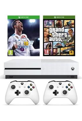 Microsoft Xbox One S 500Gb Oyun Konsolu + 2. Beyaz Kol + Fifa 2018 + Gta 5