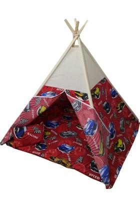 Janbebe Ahşap Pamuk Kumaş Minderli Çocuk Oyun Çadırı Kızılderili Oyun Evi Çadır Kırmızı Arabalı
