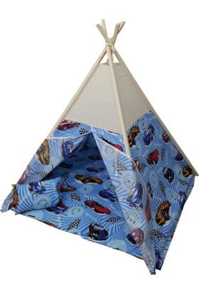 Janbebe Ahşap Pamuk Kumaş Minderli Çocuk Oyun Çadırı Kızılderili Oyun Evi Çadır Mavi Arabalı
