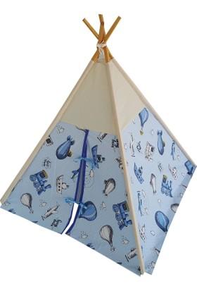 Janbebe Çocuk Oyun Çadırı Kızılderili Çadırı Oyun Evi Pamuk Kumaş
