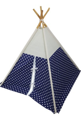 Janbebe Çocuk Oyun Çadırı Kızılderili Çadırı Oyun Evi Pamuk Kumaş Mavi Yıldızlı