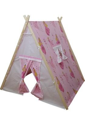 Janbebe Pamuk Ahşap Çocuk Oyun Çadırı Çadır Oyun Evi Büyük Boy Pembe