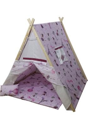 Janbebe Pamuk Ahşap Çocuk Oyun Çadırı Çadır Oyun Evi Doğal Ağaç Büyük Boy Minderli Yastıklı