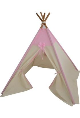 Janbebe Pamuk Ahşap Çocuk Oyun Çadırı Çocuk Çadırı Pembe