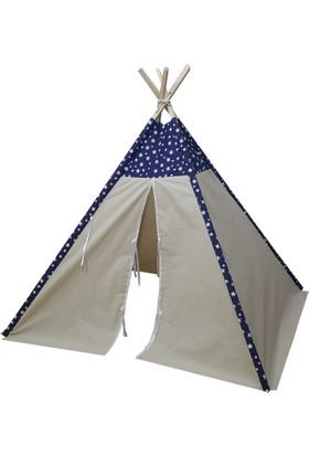 Janbebe Pamuk Ahşap Çocuk Oyun Çadırı Kızılderili Çadırı Organik Oyun Evi Mavi Yıldızlı