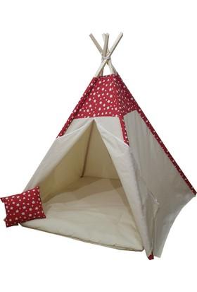 Janbebe Pamuk Ahşap Çocuk Oyun Çadırı Kızılderili Çadırı Oyun Evi Minderli Yastıklı