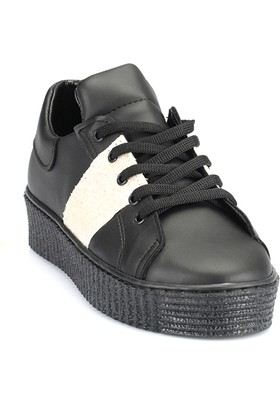 Ayakkabı - Siyah Beyaz Simli - Zenneshoes