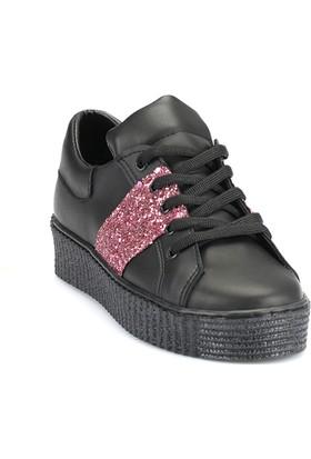 Ayakkabı - Siyah Pembe Simli - Zenneshoes