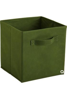 Rani Q1 Medium Çok Amaçlı Dolap İçi Düzenleyici Kutu Dekoratif Saklama Kutusu Raf Organizer Koyu Yeşil